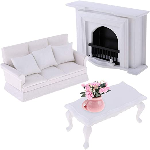 White Double Seat Couch Sofa Coffe Table Miniatures 1//12 Dollhouse Furniture