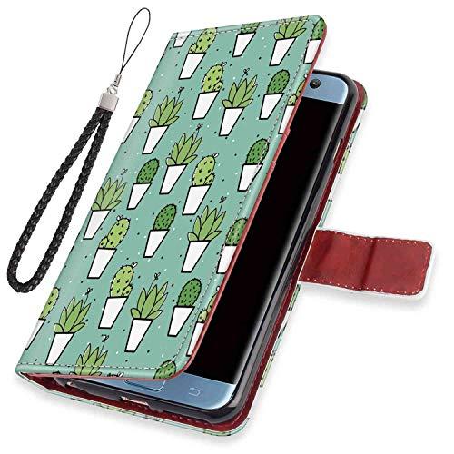 Cactus Wallet Case Compatible Samsung Galaxy S7 (2016) 5.1-Inch Folio