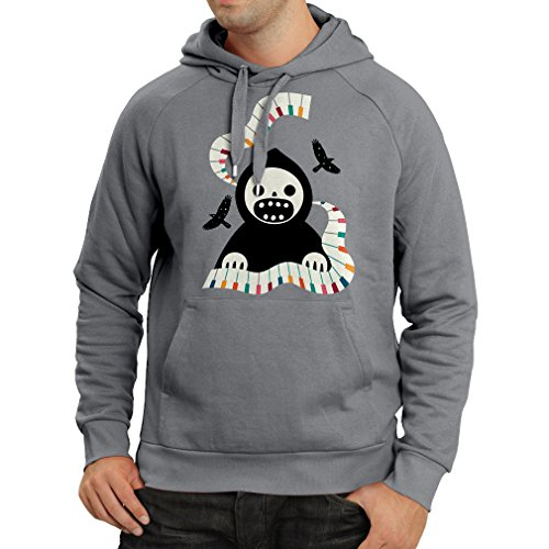 Hoodie Halloween Horror Nights - The Death is Playing on Piano - Cool Scarry Design (X-Large Graphite Multi Color) ()