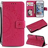 Floral Wallet Case for iPhone 6S Plus 5.5'',Strap Flip Case for iPhone 6 Plus 5.5'',Leecase Embossed Totem Flower Design Pu Leather Bookstyle Stand Flip Case for iPhone 6S Plus /6 Plus 5.5''-Red