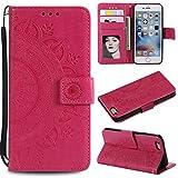 Floral Wallet Case for iPhone 7 4.7'',Strap Flip Case for iPhone 8 4.7'',Leecase Embossed Totem Flower Design Pu Leather Bookstyle Stand Flip Case for iPhone 7/8 4.7''-Red