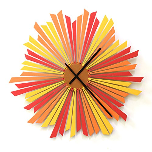 The Setting Sun large sized stylish orange wooden wall clock,
