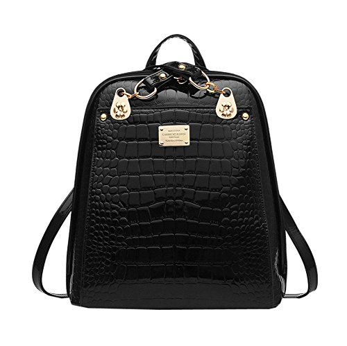 Buy-Box Women Bling Bling Crocodile Patent Leather Versatile Exquisite Backpacks (Black)