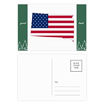 Amazon Com South Dakota Usa Map Stars Stripes Flag Shape Good Luck