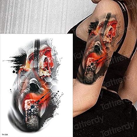 Azúcar cráneo Tatuaje Rojo Fuego cráneo Tatuaje Reloj de Terror ...