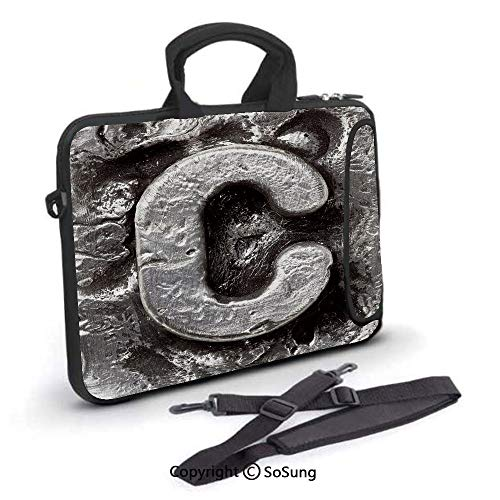 15 inch Laptop Case,Fused Elements Aluminum Style Minuscule C Words First Name Theme Background Artwork Decorative Neoprene Laptop Shoulder Bag Sleeve Case with Handle and Carrying & External Side Poc -