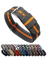 BARTON Watch Bands - Choice of Color, Length & Width (18mm, 20mm, 22mm or 24mm) - Smoke/Pumpkin 18mm Width