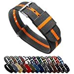 BARTON Watch Bands – Choice of Color, Length & Width (18mm, 20mm, 22mm or 24mm) – Smoke/Pumpkin 22mm – Standard Length
