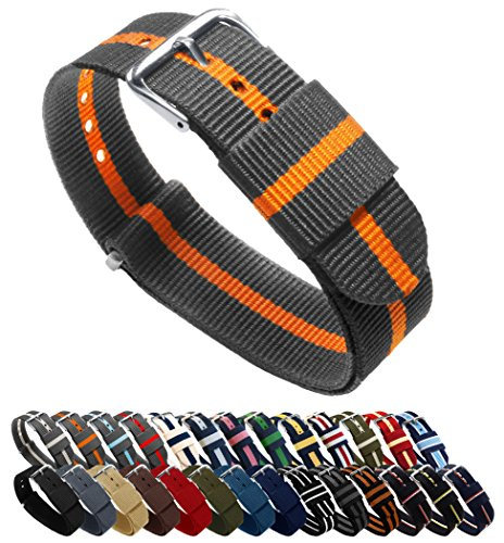 - BARTON Watch Bands - Choice of Color, Length & Width (18mm, 20mm, 22mm or 24mm) - Smoke/Pumpkin 20mm - Standard Length