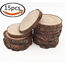 """15pcs 3.5""""-4"""" Natural Wood Slices with Tree Bark Unfinished Round Wooden Discs for Crafts Coasters DIY Ornaments"""