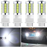 Botepon 4Pcs 3157 T25 3056 3156 3057 Led Reverse Light, 5630 33-SMD 900 Lumens 8000K Extremely Bright Led Bulb for Car Led Backup Reverse Lights Tail Brake Stop Lamp 12V White