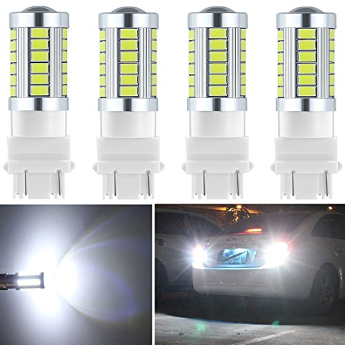 Botepon 4Pcs 3157 T25 3056 3156 3057 Led Reverse Light, 5630 33-SMD 900 Lumens 8000K Extremely Bright Led Bulb for Car Led Backup Reverse Lights Tail Brake Stop Lamp 12V White