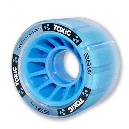 Mota Toxic Hybrid Roller Derby Skate Wheels 8pk (62x41mm or 59x38mm) with Rollerbones Bearings Installed w/ Bonus Devaskation Drawstring Backpack and Skate Tool (Blue 62mm) by MOTA