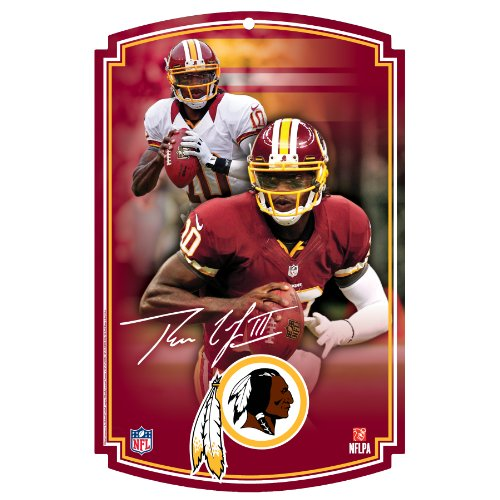 NFL Washington Redskins Robert Griffin III Wood Sign, 11 x 17-Inch (Redskins Room Nfl Locker Washington)