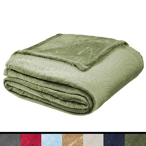 Soft Fleece Throw Blanket – Plush Blanket for Bed or Couch - Embossed Flannel Blanket for Bedroom, Living Room and Travel – Olive, Twin Blanket by Blissford