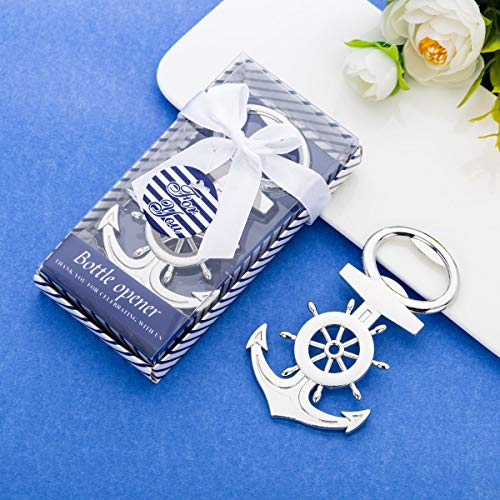 36 Pcs Nautical Themed Anchor & Wheel Beer Bottle Opener Party Favors for Guests Boxed Souvenir Gift Favor for Nautical Beach Wedding Baby Bridal Shower Birthday Party -