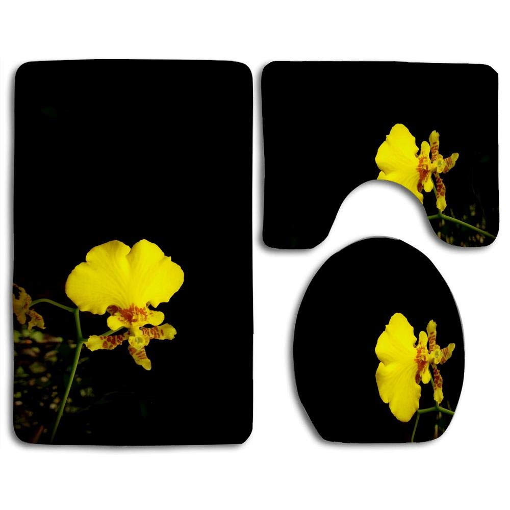 Bath Mat Sets Yellow Orchid Contour Rug U-Shaped Toilet Lid Cover,Non Slip,Machine Washable,3-Piece Rug Set Easier to Dry for Bathroom