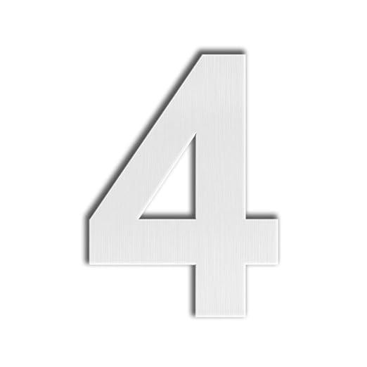 QT Número Moderno de la Casa - EXTRA GRAANDE 25 Centímetros - Acero inoxidable cepillado (Número 4 Cuatro), aspecto flotante, fácil instalar y hecho ...