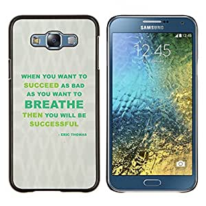 YiPhone /// Prima de resorte delgada de la cubierta del caso de Shell Armor - Respire Mensaje Éxito Verde Gris - Samsung Galaxy E7 E700