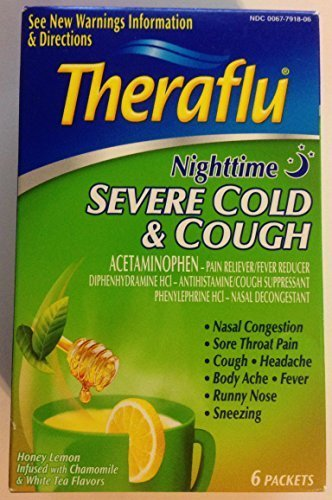 Theraflu Nighttime Severe Cold Cough Honey Lemon Tea 6 Packets