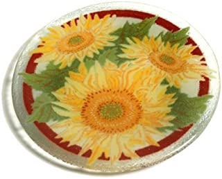product image for Peggy Karr 8-Inch Glass Tuscany Sunflower Plate