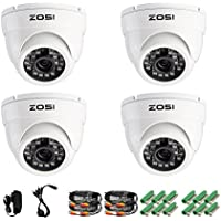 ZOSI 4 Pack 1/3 800TVL HD IR Cut CCTV Dome Home Security Cameras Kit Surveillance Indoor Outdoor Day Night Vision White