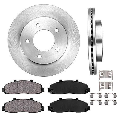 [ 4WD ] FRONT 308 mm Premium OE 5 Lug [2] Brake Disc Rotors + [4] Ceramic Brake Pads + Clips