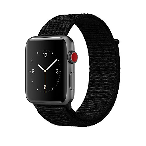 amBand for Apple Watch Sport Loop Band 38mm, Lightweight Breathable Nylon Replacement Band for Apple Watch Series 1, Series 2, Series 3, Sport, Edition-Dark Black