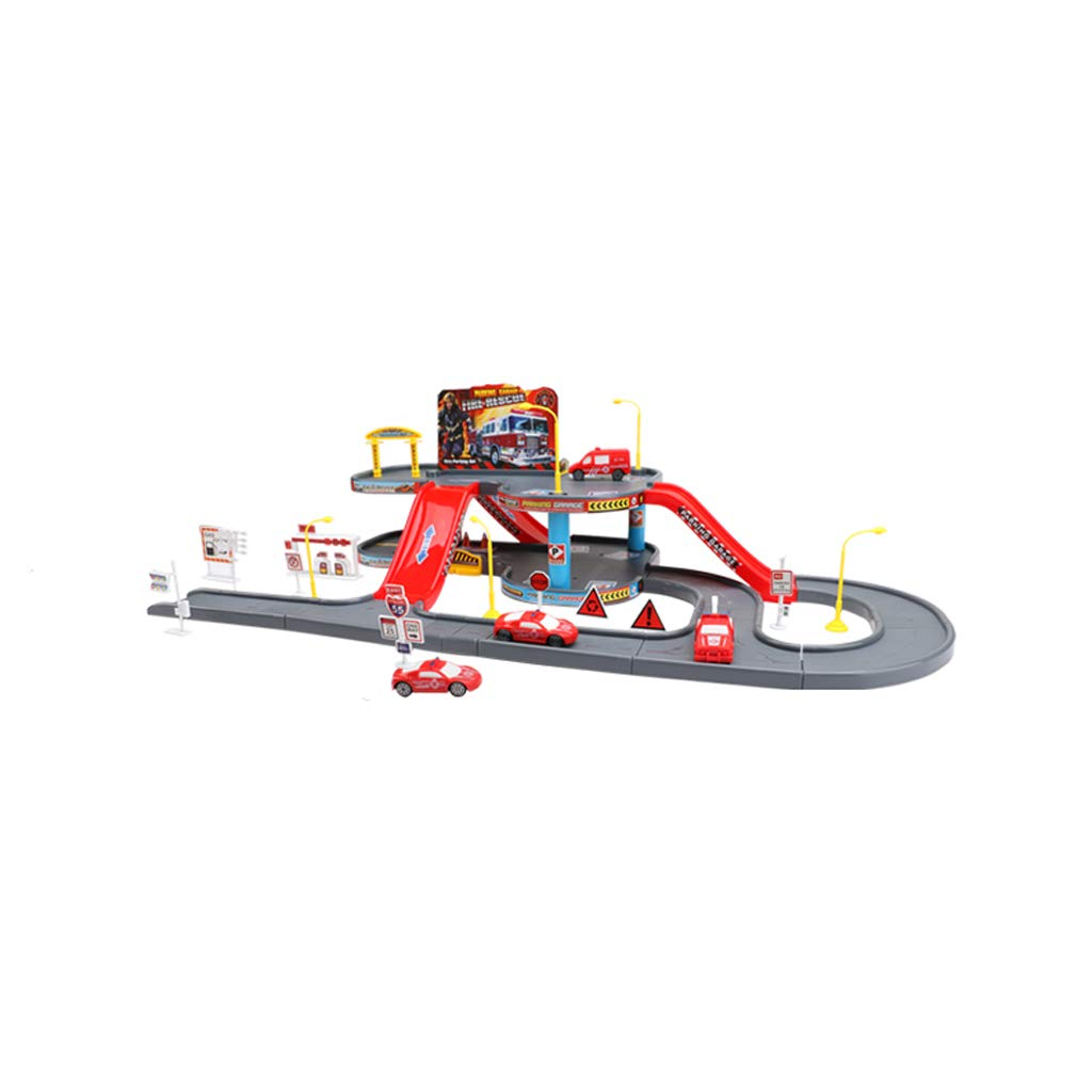 LINGLING-Track Rail Car Puzzle Boy Electric Toy Three-Dimensional Scene Parking Car Gift 5 Years Old Or Older (Size : Red)