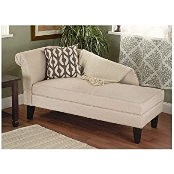 Beige tan storage chaise lounge sofa chair - Amazon bedroom chairs and stools ...