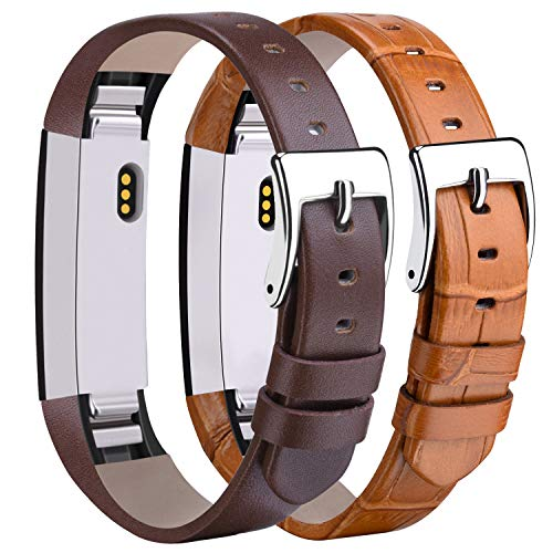 (Tobfit Leather Bands Compatible with for Fitbit Alta Bands and Fitbit Alta HR Bands, 2 Pack, Brown Bamboo-Grain, Coffee Brown)