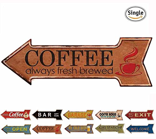 HANTAJANSS Metal Signs Arrow Fresh Brewed Coffee Signs for Cafe Decor (Metal Vintage Arrow)