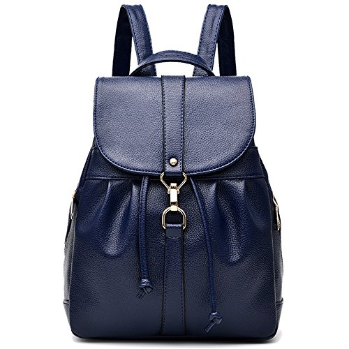 Fashion Men For and PU Unisex Classic Leather Shoulder Backpack Blue Faux Blue Bag L017 Women 80q5wpxzq