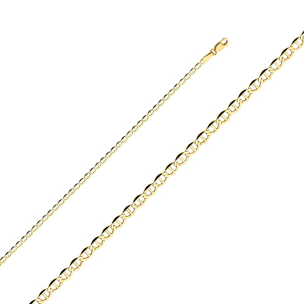 Ioka - 14K Yellow Solid Gold 2.7mm Flat Mariner Chain Necklace with Lobster Clasp - 20''
