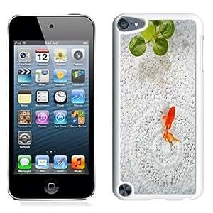 NEW Unique Custom Designed iPod Touch 5 Phone Case With Orange Fish White Stone Aquarium_White Phone Case