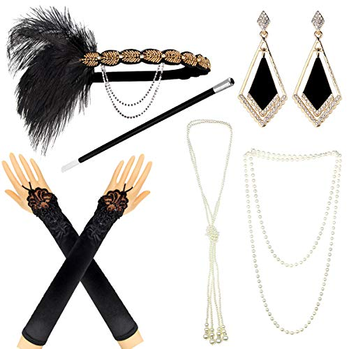 IETANG 1920s Accessories Themed Costume Mardi Gras Party Prop additions to Flapper Dress -