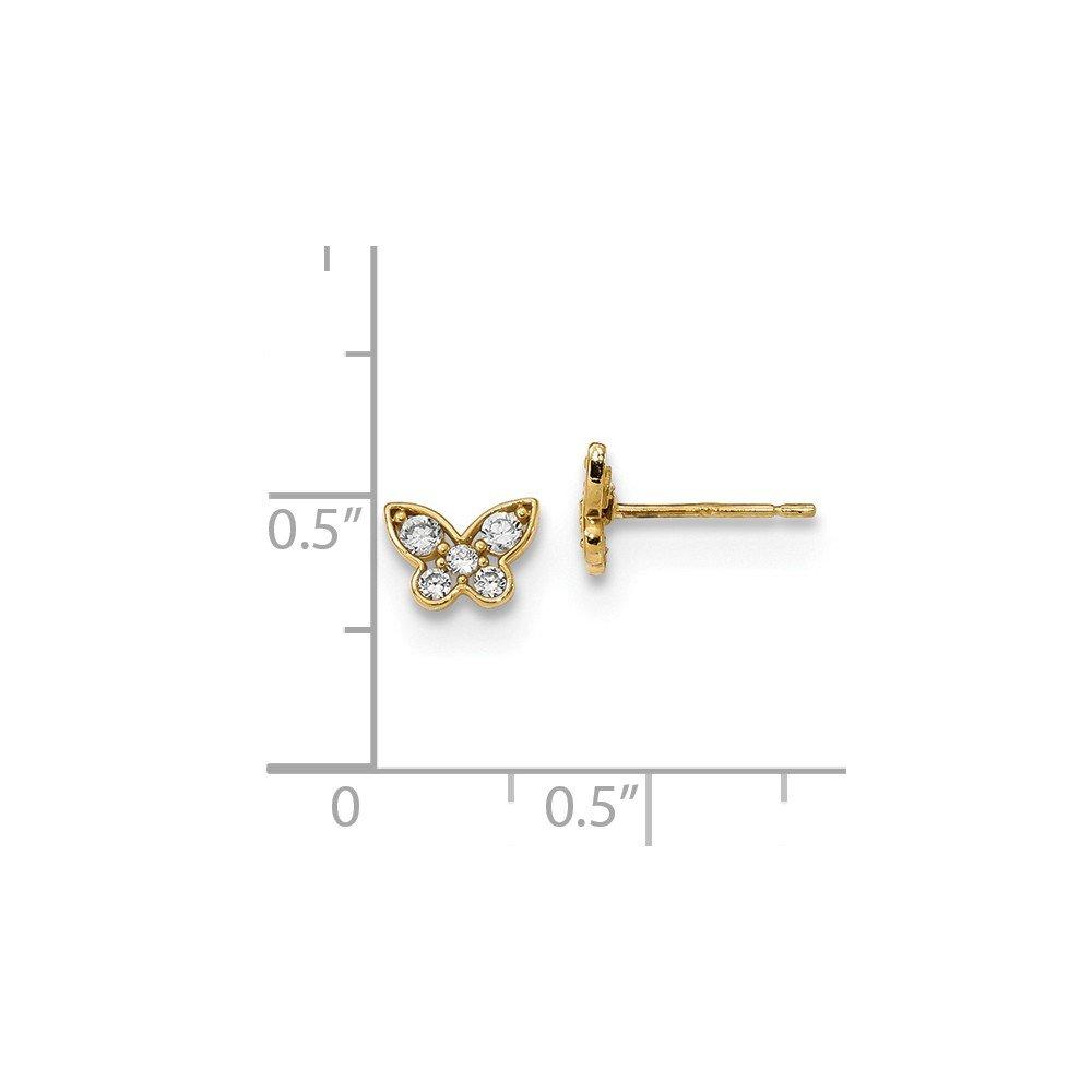 14K Yellow Gold Madi K CZ Butterfly Children Post Earrings