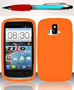 Accessory Factory(TM) Bundle (the item, 2in1 Stylus Point Pen) For ZTE Sonata 4G Z740 Radiant Z740G (AIO Wireless) Silicon Skin Case - Orange SC,205