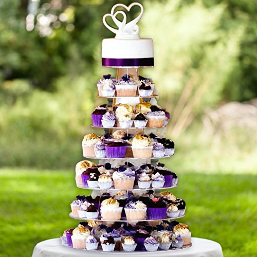 Efavormart 7 Tier HEAVY DUTY Acrylic Crystal Cupcake Dessert Stand For Wedding Birthday Party Dessert Cupcake Pedestal Display