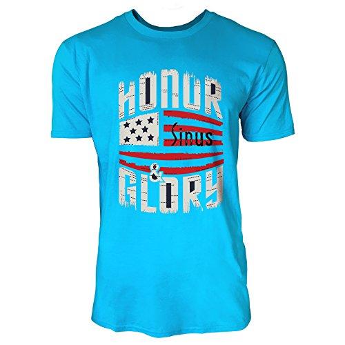 SINUS ART ® Vintage US Flagge mit Typographie Herren T-Shirts in Karibik blau Cooles Fun Shirt mit tollen Aufdruck