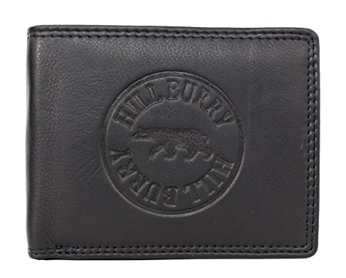 Genuine Leather Wallet for Men Handmade Bifold Wallets ID Card Holder with coin pocket Hill Burry black Washington