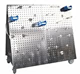 Triton Products Locking Pegboard Hooks LBC-4SH Anodized Aluminum Frame SS LocBoard Tool Cart with Tray, 66 Piece Stainless Steel LocHook Assortment & 6 Hanging Bins, 48'' x 46'' x 26-5/8'', Silver