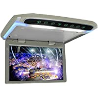 12.1inch Flip Down Monitor for Car 1080P HD TFT LCD Car Roof Mount Monitor Ultra Thin Overhead Video Player HDMI SD MP3 MP4 Player with LED Back-lit Button and Ambient Light (Gray)