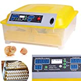 Homdox Automatic 48 Digital Clear Egg Incubator Hatcher Egg Turning Temperature Control 80W US Plug Yellow