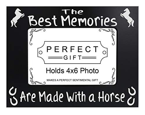 ThisWear Horse Gifts Memories Made with a Horse Frame Black Steel Engraved 4x6 Landscape Picture Frame Black