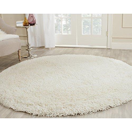 Safavieh Ultra Classic Shag Collection SG140A Handmade White Round Area Rug (6' Diameter)