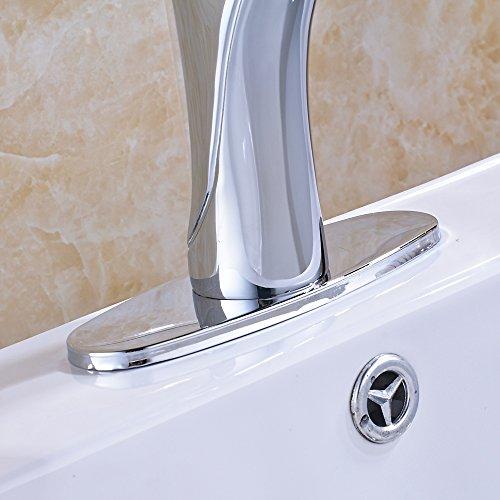 Votamuta Modern Chrome Finish Single Lever Basin Sink Faucet Deck-Mount One Handle Lavatory Mixer Tap with Deck Plate Escutcheon low-cost