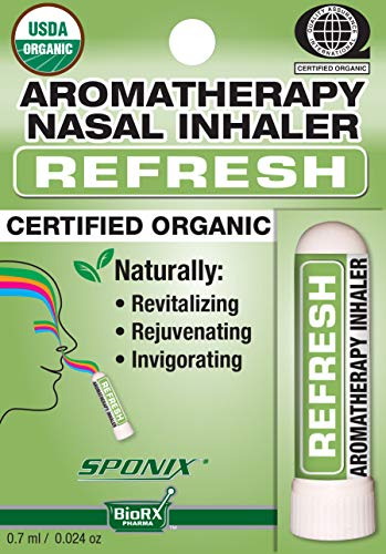 Best Organic Aromatherapy Refresh Nasal Inhaler - Made with 100% Organic Essential Oils - 0.7 ml by Sponix ()