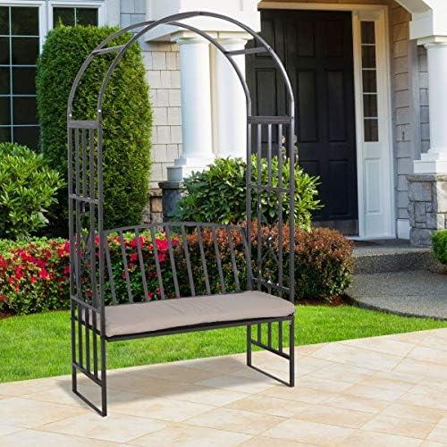 Banco de arco para jardín con 2 asientos cómodos con cojín para plantas trepadoras para colgar