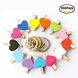 100 Pcs Color Wedding Wooden Clip Love Clip Photo Clip [Random Color] Decor Mini Wooden Clips Cute Love Heart Shape Message Photo Card Book Holder Pegs (100)